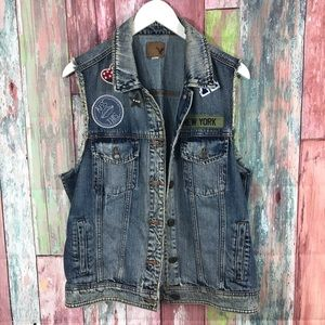 American Eagle jean Vest with decals
